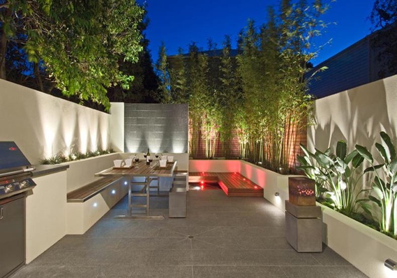 Led garden lights outdoor lighting ideas perth garden for Modern garden design for small spaces